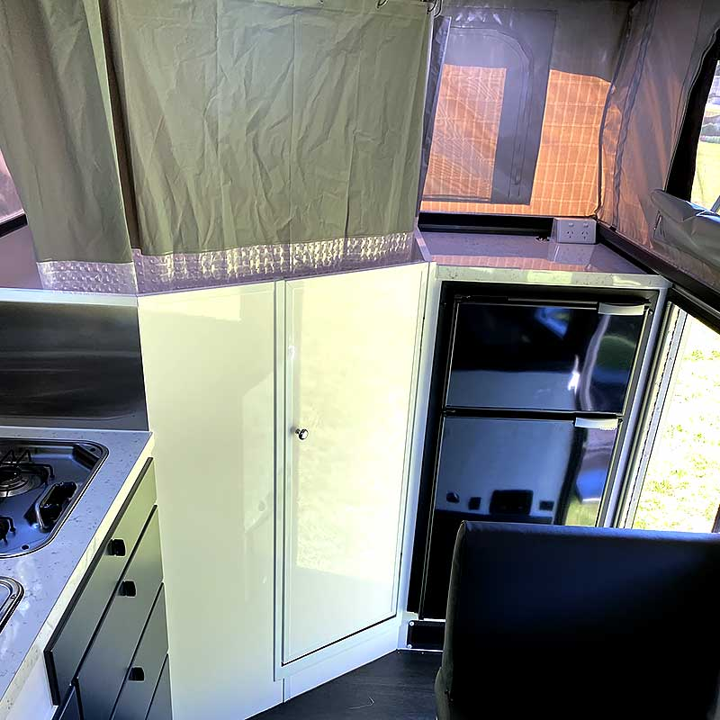 offroad rvs titanium shower fridge