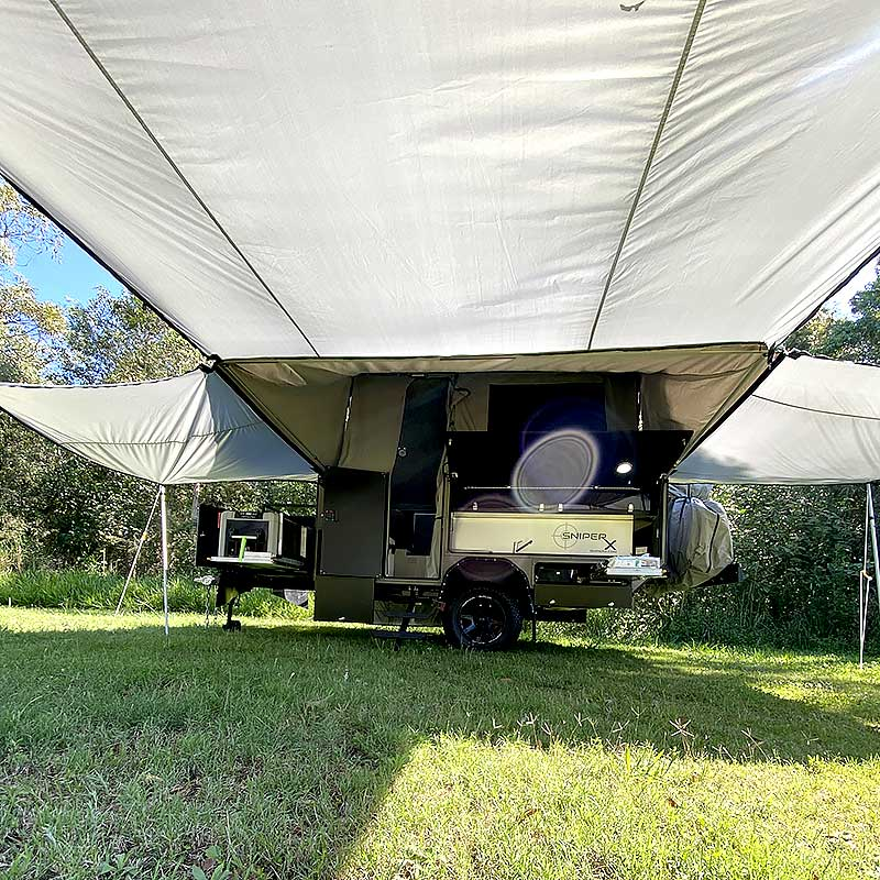 rvs x11 offroad camper trailer under main awning